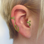 The Mirkwood Collection Reversible Mirkwood Ear Cuff Green Wire Leaf Cuff Elf Elvish