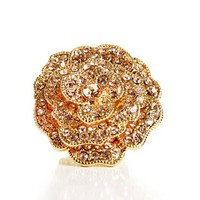 Gold/Blush Rhinestone Flower Ring