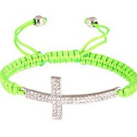 Green Lace Style Iced Out Cross Bracelet with Beaded Disco Balls Macrame Shamballah: Jewelry