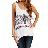 Ivory Oversize Tribal Tank Top