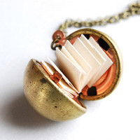 Vintage Brass Ball Locket Necklace Secret by paperfacestudio