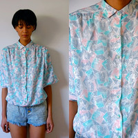 Vtg Watercolor Squares Retro Pastel Print Button Down Blouse
