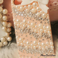 Bow iPhone case Pearl iPhone 4s case Crystal iPhone 4 4s case Bling iPone cases Pink White iPhone cover Custom Handmade Twill iPhone4 4s