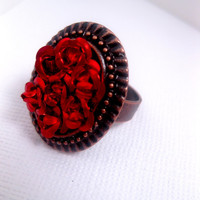 Eternal Bed Of Roses Ring  Red Flower Ring  by FashionCrashJewelry