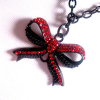 Big Red Bow Necklace  Rhinestone Encrusted  by FashionCrashJewelry