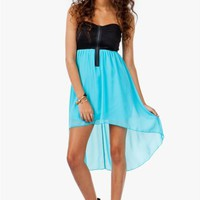 A'GACI Zip Front Chiffon Hi Lo Dress - BEST SELLERS