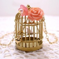 Golden Birdcage With White Bird Necklace by CuteAbility on Etsy