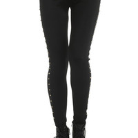 ROMWE | Dual-tone Studded Black Leggings, The Latest Street Fashion