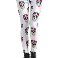 "ROMWE | ""Colorful Skull"" White Leggings, The Latest Street Fashion"