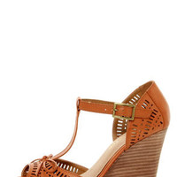 Restricted Milk Shake Camel Cutout T-Strap Peep Toe Wedges