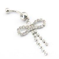 Amazon.com: 316L Stainless Steel 14G Clear Crystal Bowknot Dangle Cute Navel Ring Belly Bar Stud Ball Barbell Body Piercing Kit 14 Guage 7/16 Inch: Jewelry