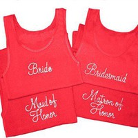 Monterey Font Bride T-Shirt, Bride Tank Top - Bridesmaids Shirts - Bridesmaid Tank Tops