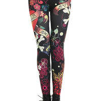 "ROMWE | ""Graffiti Skulls Love"" Leggings, The Latest Street Fashion"