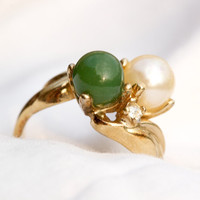 Vintage 18k HGE Jade and Pearl with by TwiceBakedVintage on Etsy