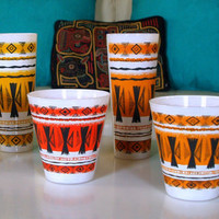 6 ATOMIC RETRO TIKI Vintage Drinking Glasses Cup Mid Century / Tribal Pattern / Geometric Print / Bar Lounge / 60s Retro Kitchen / Barware