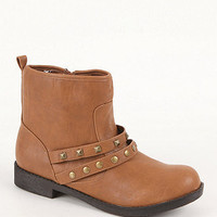 Black Poppy Studded Double Strap Boots at PacSun.com