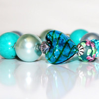 Lovely Heart  Assorted Lampwork Pearl Blown by MesmerisingGems
