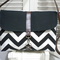 Black & White Chevron and  Black CanvasMaycas by maycascollection