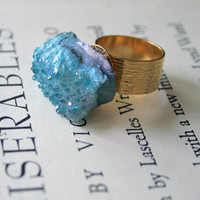 Aqua Aura Fume Natural Raw Quartz Cluster Ring, Adjustable, Gold Plated, Brushed Band, Druzy, Turquoise