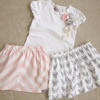 Pink Stripe &amp; Gray Butterfly Girls Skirts and Matching Rosette Embellished Tee 3 Pc Outfit - 6m, 12m, 18m, 2T, 3T, 4T, 5, 6, 7/8, 9/10