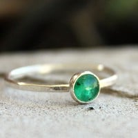 Tiny Emerald and Sterling Silver Stacking Ring by ThirtySixTen