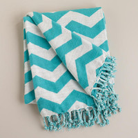 Turquoise and White Chevron Throw - World Market