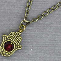 Hamsa Hand Necklace  Antique Gold Bronze Hamsa Hand by ArtisanTree