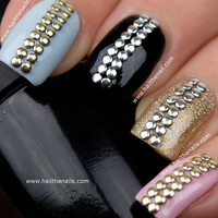 Gold & Silver Metallic  Studs Nail Art  This by Hailthenails