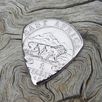 Coin Guitar Pick - Handmade with a Vintage 1950 British-East Africa 1 Shilling Coin