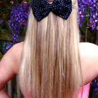 Jet Black Sparkly Bow Hair Clip Headpiece from LullaBellz