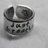just breathe lotus 3/8 inch cuff style   ring