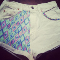 White denim High waisted or low rise tribal by AngeliqueMerici