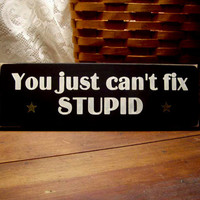 Funny Wood Sign You Just Can't Fix Stupid Wall Decor