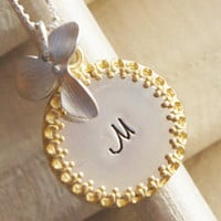 Personalized Initial Necklace - Hand Stamped Custom Monogram Name Necklace - Sterling Silver Gold Brass with Flower Charm - Gift for Her