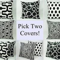 Pick Your Own Set of Two Black and White 16 x 16 Inch Decorative Throw Pillow Covers - Cushion Cover Accent Pillow