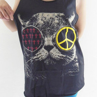 Cat Glasses Shirt -- Cat Cross Shirt Cat Peace Shirt Women Tank Top Black Shirt Vest Women Tunic Women T-Shirt Sleeveless Shirt Size M
