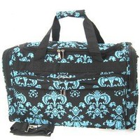 "Amazon.com: 16"" Black Blue Damask Print Duffle Dance Gym Bag Luggage Carry On: Clothing"