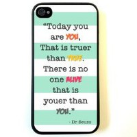 Amazon.com: iPhone 4 Case Silicone Case Protective iPhone 4/4s Case Dr Seuss Quote Today You Are You Turquoise Stripes: Cell Phones & Accessories