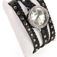 braided wrap watch with studs and stones - 1000047787 - debshops.com