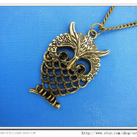 adjustable Vintage antique brass Owl necklace with by sevenvsxiao