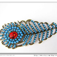 Fashion Gorgeous Feather Necklace with Blue by sevenvsxiao on Etsy