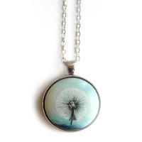 Fashionable Necklace  - Dandelion Seed Head - Botanical Plant Jewelry - Charm - Gift Idea