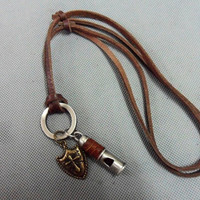 Brown real Leather and alloy earpiece pendant by sevenvsxiao