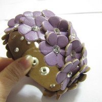 Purple Soft PU Leather Flowers MultiCrystal by sevenvsxiao on Etsy