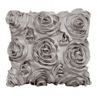 Wake Up Frankie - The Bouquet Dec Pillow - Silver : Teen Bedding, Pink Bedding, Dorm Bedding, Teen Comforters