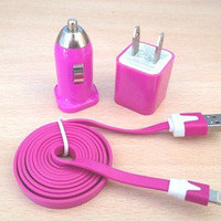 1m USB Cord 1PCS USB Power Adapter Wall Charger and 1Pcs Car Charger For Iphone 4/4s/5