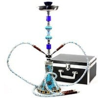 Never Exhale(TM) 26&amp;quot; Premium Double Hose Glass Vase Mosaic Hookah (Blue): Health &amp; Personal Care