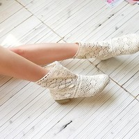 favthing  Hollow Knitted Flattie Shoes Casual Sandals Ankle Boots