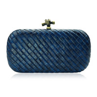 Braided Grain Hard Shell Clutch Bag  Faboutique