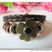 Adjustable Leather Bracelet /Buckle by sevenvsxiao on Etsy